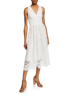 Shoshanna Christabella Sleeveless Lace Midi Dress
