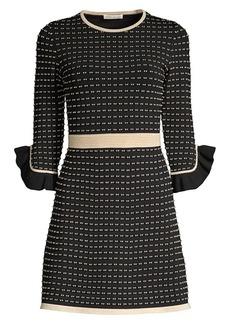 Shoshanna Claira Ruffle-Trim Tweed A-Line Dress