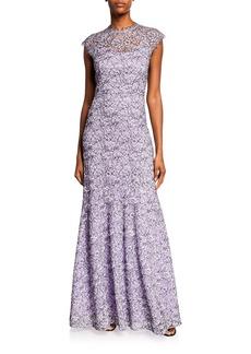 Shoshanna Clarette Cap-Sleeve Lace Gown