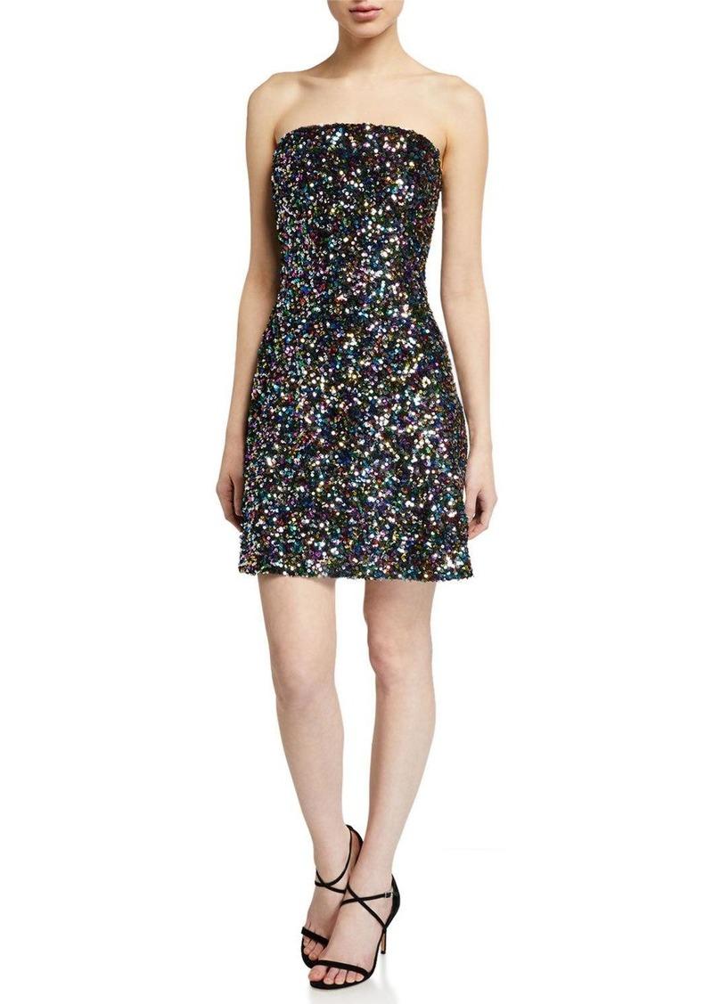 Shoshanna Coralie Multicolor Sequin Strapless Dress