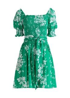 Shoshanna Cosmos Puff-Sleeve Dress
