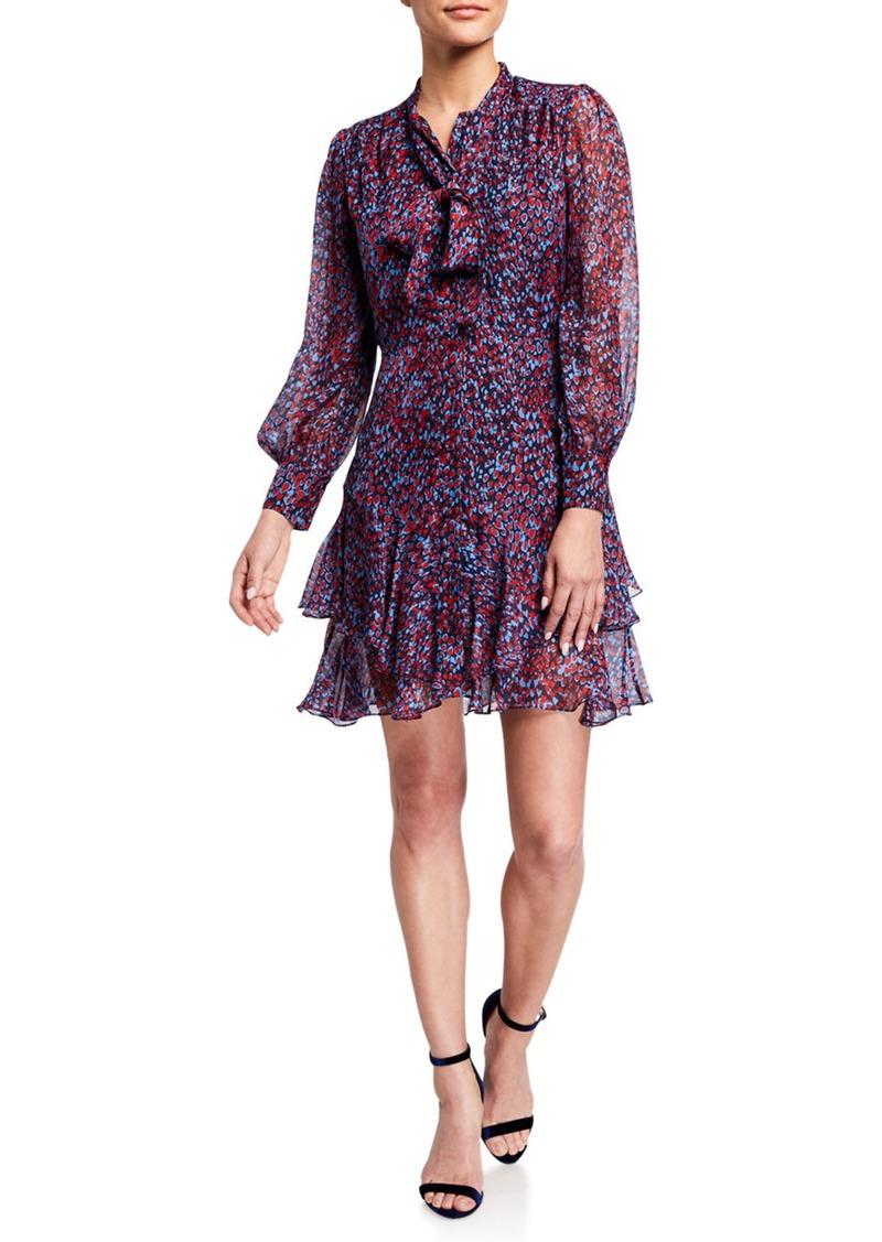 Shoshanna Cynthia Sofia Heart Print Tie-Neck Long-Sleeve Ruffle Dress
