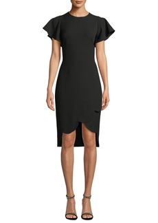 Shoshanna Dade High-Low Flutter-Sleeve Crepe Dress