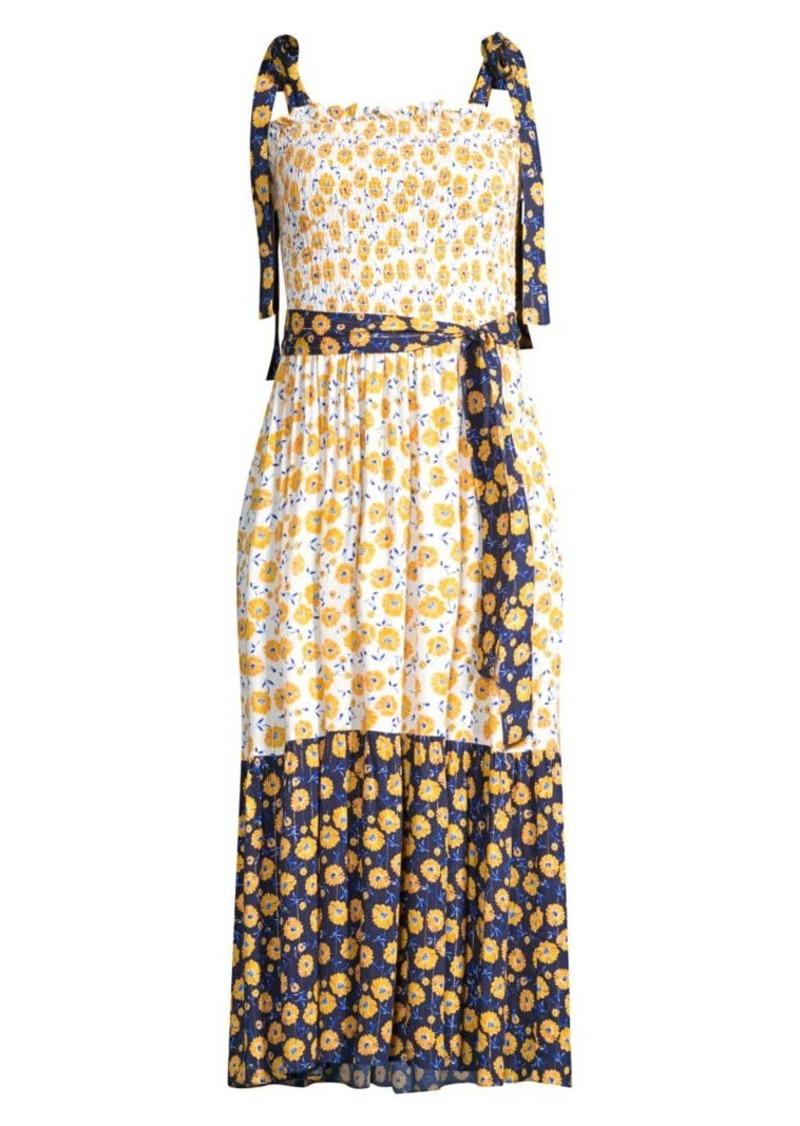 Shoshanna Daisy Daydream Two-Tone Tie-Strap Midi Dress