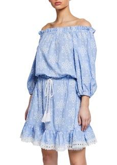 Shoshanna Daisy-Embroidered Off-Shoulder Flounce Dress