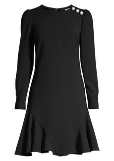 Shoshanna Dara Faux-Pearl Embellished Flare Dress