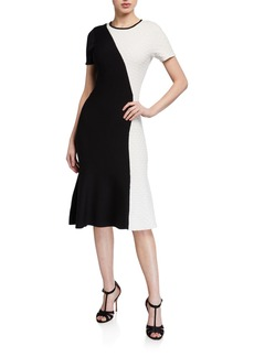Shoshanna Desdemona Colorblock Short-Sleeve Dress