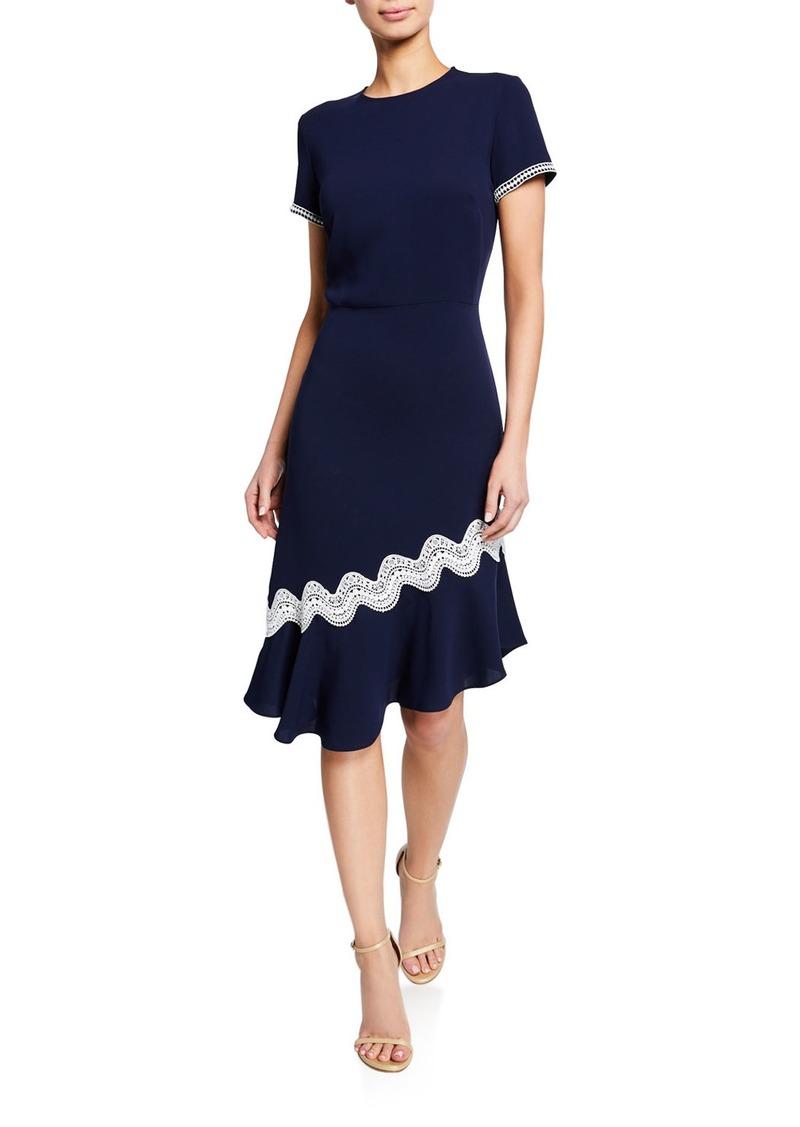 Shoshanna Dinan Short-Sleeve Asymmetric Crepe Dress