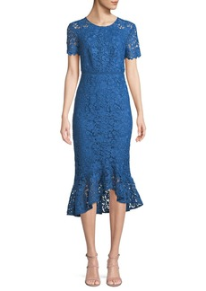 Shoshanna Edgecombe Bodycon Lace Dress w/ High-Low Hem