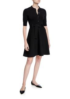 Shoshanna Edgemont Button-Front Elbow-Sleeve Dress