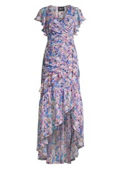 Shoshanna Elnora Floral Silk-Blend Ruched Asymmetric High-Low Dress
