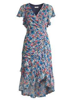 Shoshanna Elnora Floral Silk Midi Dress