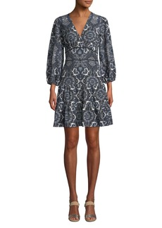 Shoshanna Emery Balloon-Sleeve Paisley Dress