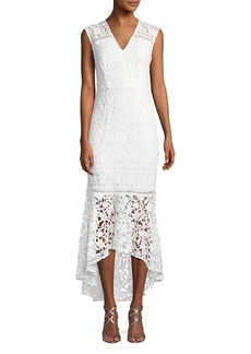 Shoshanna Evangelina Cap-Sleeve Floral Lace Gown