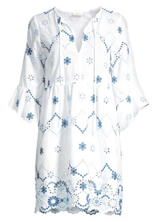 Shoshanna Eyelet Floral Flare-Sleeve Tunic Dress