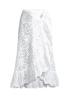 Shoshanna Eyelet Ruffle Cover-Up Skirt