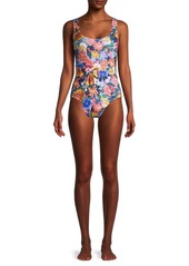 Shoshanna Floral Belted One-Piece Swimsuit