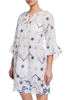 Shoshanna Floral Eyelet Flare-Sleeve Coverup Tunic