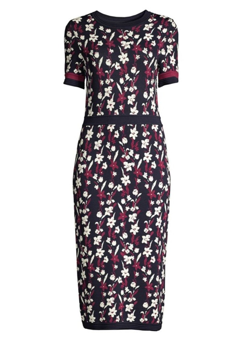 Shoshanna Floral Knit Midi Dress