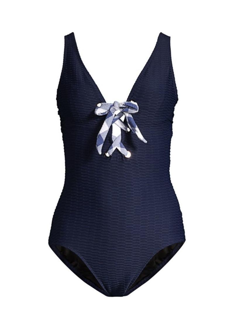 Shoshanna Floral Texture Lace-Up Bikini Bottom