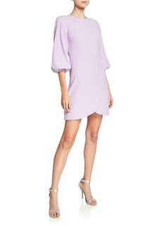 Shoshanna Garda Crewneck Blouson-Sleeve Cocktail Dress