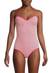 Shoshanna Geometric Halter Bra One-Piece Swimsuit