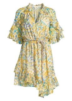 Shoshanna Giada Metallic Silk Ruffle Dress