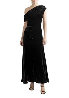 Shoshanna Goldie Jet Midnight Shine One-Shoulder Velvet Dress