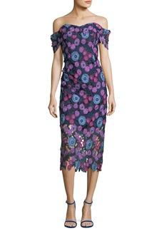 Shoshanna Gracia Multicolor Floral Lace Gown