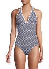 Shoshanna Graphic Halter One-Piece Swimsuit