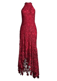 Shoshanna Grazie Floral Lace Halter Dress