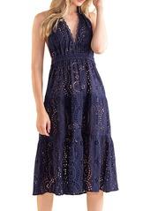 Shoshanna Halter Laser-Cut Midi Dress