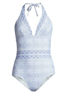 Shoshanna Halter One-Piece Swimsuit