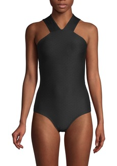 Shoshanna High Neck One-Piece Bikini
