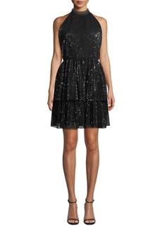 Shoshanna Hollybrook Sequin Halter-Neck Mini Cocktail Dress