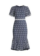 Shoshanna Iliana Embroidery Flounce Dress