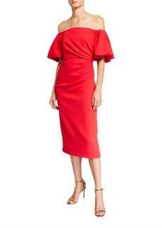 Shoshanna Janessa Off-the-Shoulder Bold Stretch Crepe Puff-Sleeve Dress
