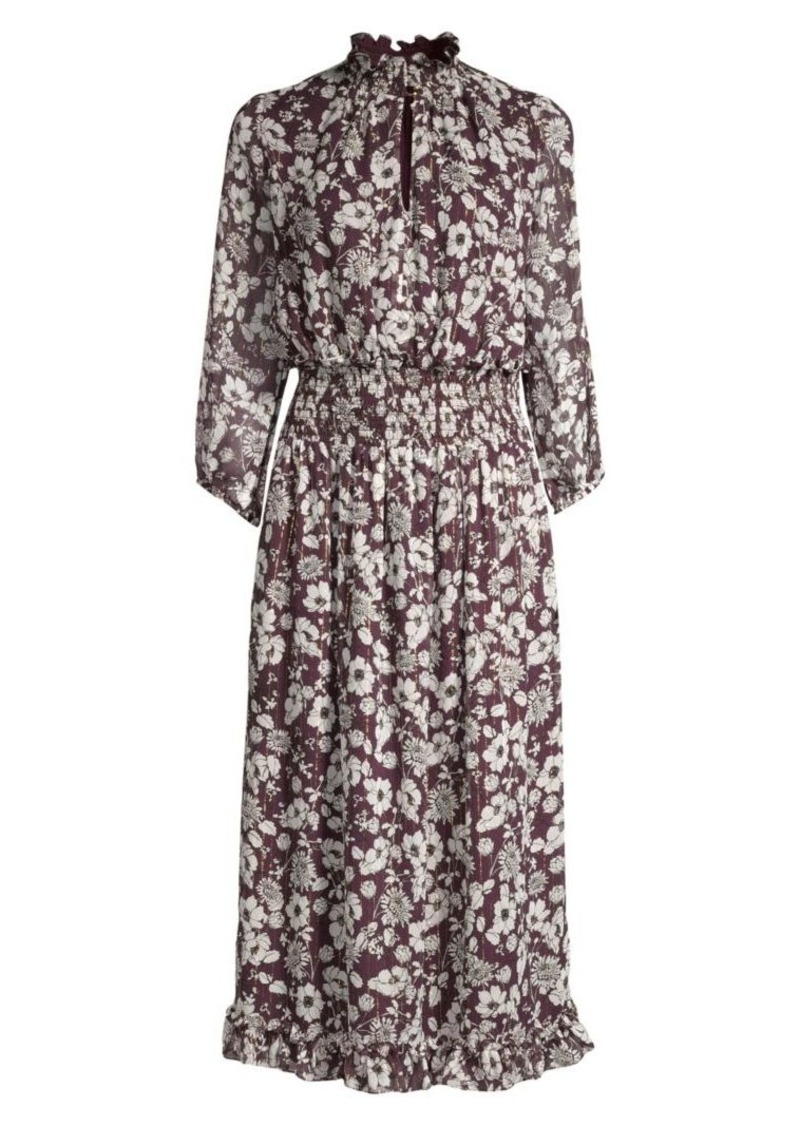 Shoshanna Jasper Floral Silk Metallic A-Line Midi Dress