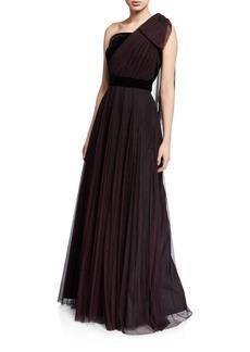 Shoshanna Jenise Dot One-Shoulder Velvet Trim A-Line Gown