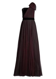 Shoshanna Jenise Polka Dot Asymmetrical Gown