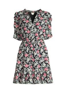 Shoshanna Jodelle Floral Puff-Sleeve Dress