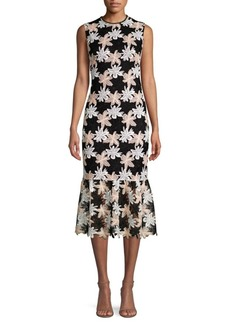 Shoshanna Joliet Flounce Sheath Dress