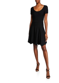 Shoshanna Jonetta Scoop-Neck Textured-Knit Fit-and-Flare Dress