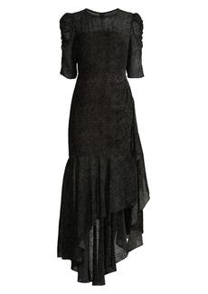 Shoshanna Joya Puff-Sleeve Asymmetric Flounce High-Low Dress