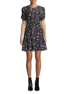 Shoshanna Kayleigh Floral Silk Ruched Dress