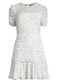 Shoshanna Kayleigh Ruched Chevron & Polka-Dot Flounce Dress