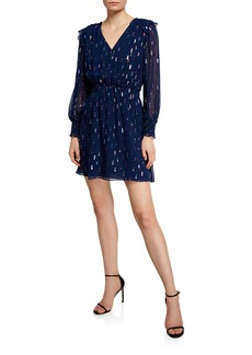 Shoshanna Killian Multicolor Metallic Clip Dot V-Neck Long-Sleeve Dress