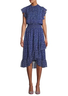 Shoshanna Kinne Shirred Floral Print Silk Dress
