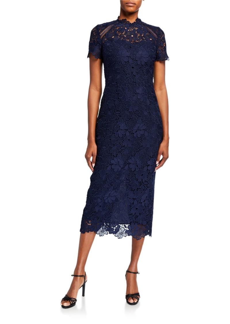 Shoshanna Kiriya Short-Sleeve Lace Midi Dress