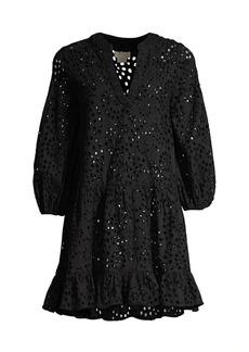 Shoshanna Lace Eyelet Umbrella Mini Shift Dress